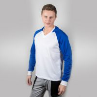 Футболка мужская с синими дл рукавами и капюшоном — 48 (L)