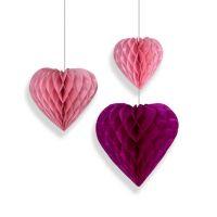 Набор помпонов в виде сердца розовый 3 штуки (h25, h20, h15см)