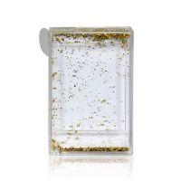 Рамка водяная-магнит прямоугольная с золотыми хлопьями 90х58мм премиум