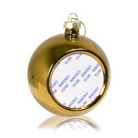 Шар елочный стекло золото (со вставкой для сублимации D51мм) D80мм