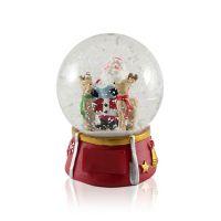 Шар водяной Дед Мороз с оленями с подсветкой с хлопьями снежинки 80x80x105мм D80